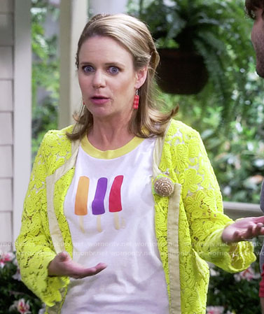 Kimmy's popsicle tee and yellow lace jacket on Fuller House