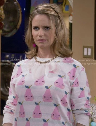 Kimmy's pink pear print sweater on Fuller House