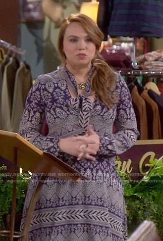 Kristin's blue printed tie-neck dress on Last Man Standing