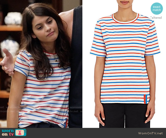 Kule Modern Striped Cotton T-shirt worn by Sofia Black D'Elia on The Mick