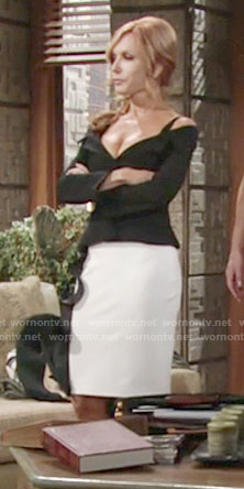 Lauren's black off-shoulder jacket and white ruffled skirt on The Young and the Restless