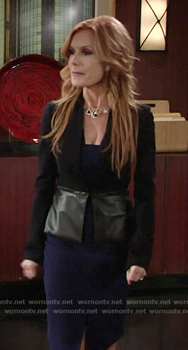 Lauren's black jacket with leather peplum on The Young and the Restless