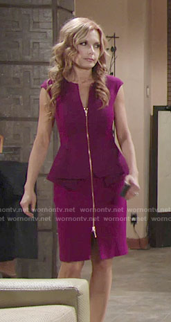 Lauren's purple zip front peplum dress on The Young and the Restless