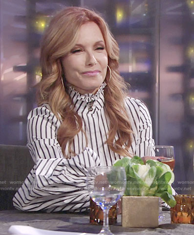 Lauren's striped ruffled top on The Young and the Restless