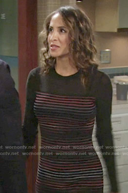 Lily's black long sleeve striped dress on The Young and the Restless