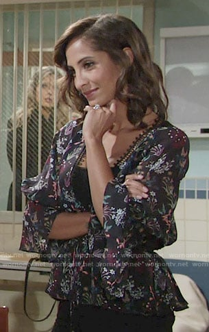Lily's floral v-neck blouse on The Young and the Restless