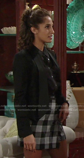 Lily's grey checked wrap skirt on The Young and the Restless