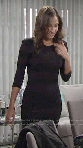 Lilys' dark purple striped body-con dress on The Young and the Restless