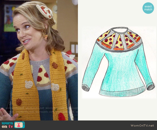 Lisa Lucia Knits Pizza Sweater worn by Kimmy Gibbler (Andrea Barber) on Fuller House