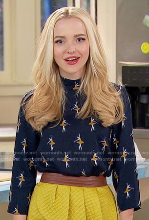 Liv's ballerina print top and yellow quilted skirt on Liv and Maddie