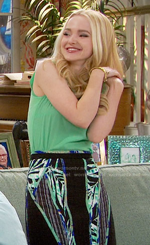 Liv's green top and panelled palm print skirt on Liv and Maddie