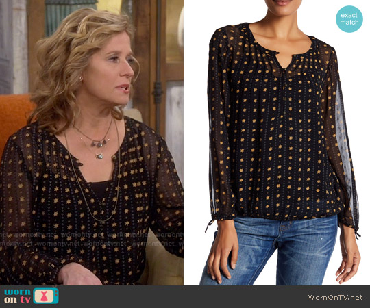 Lucky Brand Metallic Dot Print Blouse worn by Vanessa Baxter (Nancy Travis) on Last Man Standing