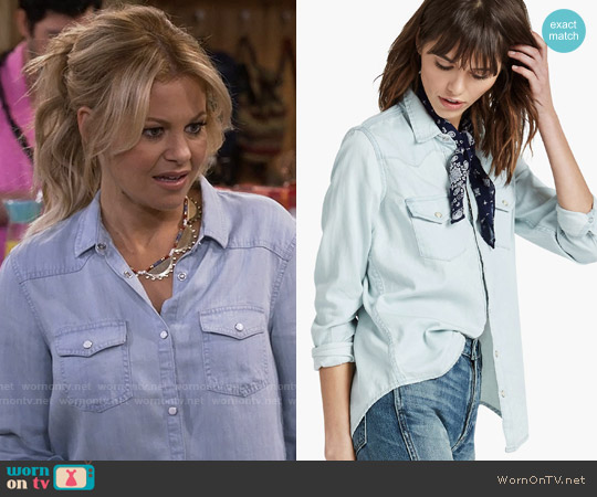 Lucky Brand Classic Western Shirt worn by Candace Cameron Bure on Fuller House