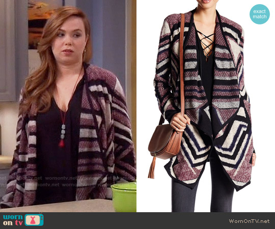 Lucky Brand Intarsia Knit Cardigan worn by Amanda Fuller on Last Man Standing