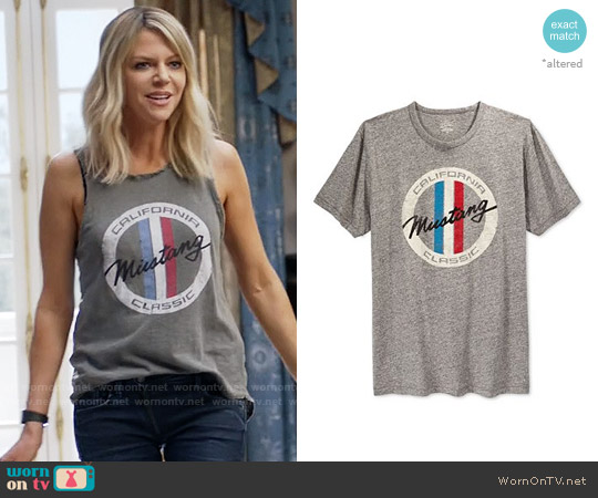 Lucky Brand Slanted Mustang Tee worn by Kaitlin Olson on The Mick