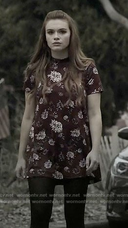 Lydia's red floral short sleeved dress on Teen Wolf