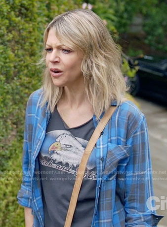 Mickey's eagle tee and blue plaid shirt on The Mick