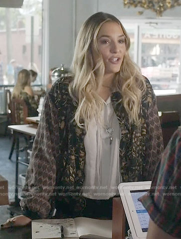 Maddie's silver drawstring top and mixed print bomber jacket on Nashville