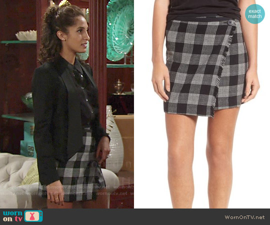 Madewell Plaid Wrap Miniskirt worn by Christel Khalil on The Young & the Restless