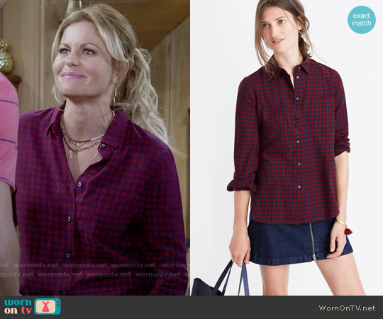 Madewell Shrunken Ex-boyfriend Shirt in Gingham Check worn by Candace Cameron Bure on Fuller House
