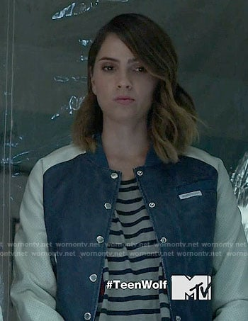 Malia's blue bomber jacket with white sleeves on Teen Wolf