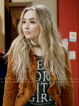 Maya's New York City Girl top and yellow lace jacket on Girl Meets World