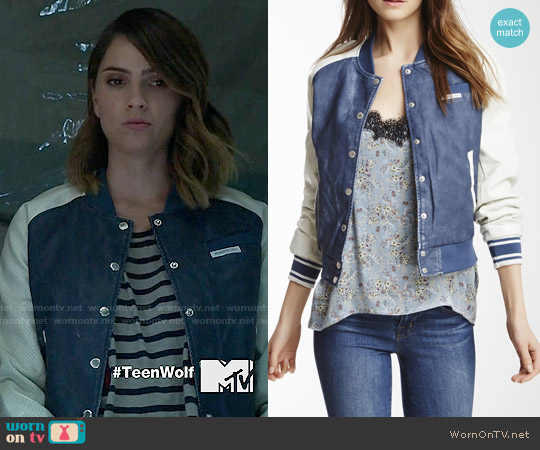 Members Only Washed Faux Leather Varsity Jacket worn by Malia Tate (Shelley Hennig) on Teen Wolf