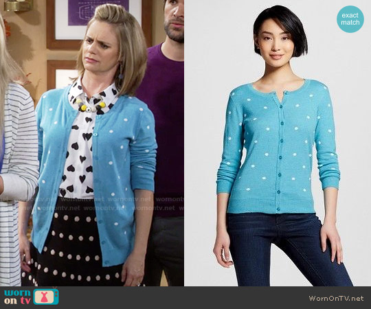 Target Merona Turquoise Polka Dot Cardigan worn by Andrea Barber on Fuller House