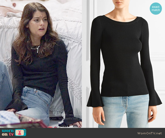 MICHAEL Michael Kors Ribbed stretch-knit sweater worn by Sabrina Pemberton (Sofia Black D'Elia) on The Mick