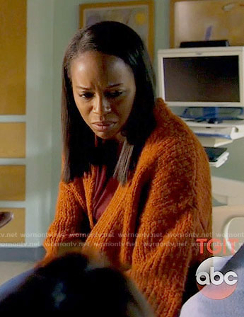 Michaela's orange chunky cardigan on How to Get Away with Murder