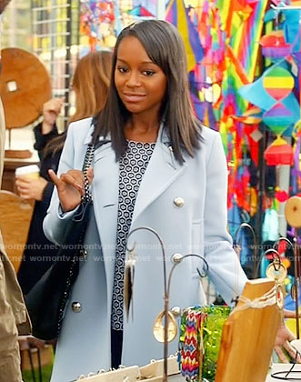 Michaela's light blue coat with silver buttons on How to Get Away with Murder