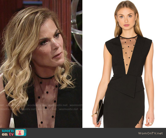 Michelle Mason Mesh Plunge Top worn by Gina Tognoni on The Young & the Restless