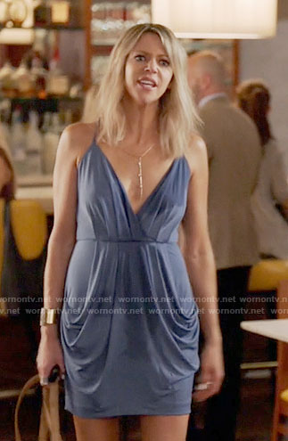 Mickey's blue draped dress on The Mick