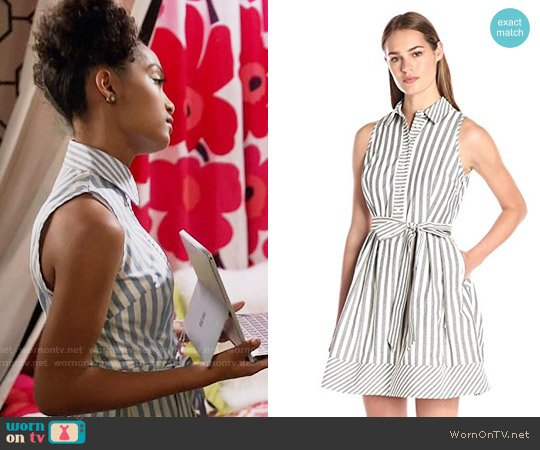 Milly Breton Stripe Sleeveless Shirtdress worn by Yara Shahidi on Blackish