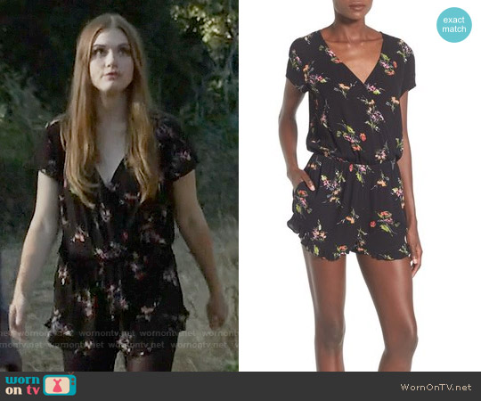 Mimi Chica Floral Print Ruffle Romper worn by Holland Roden on Teen Wolf