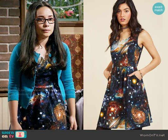 ModCloth Heart and Solar System A-Line Dress worn by Isadora Smackle (Cecilia Balagot) on Girl Meets World