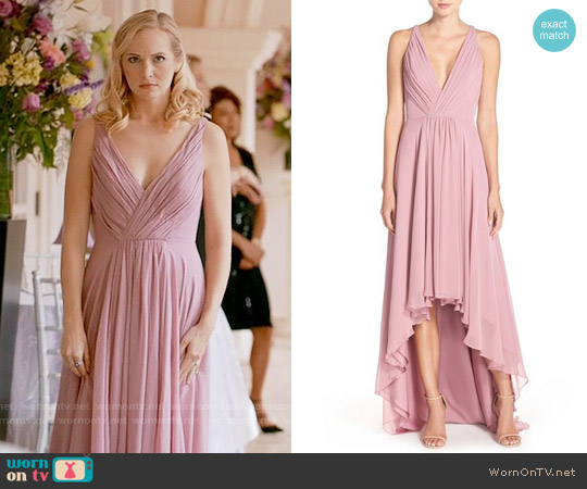 Monique Lhuillier Deep V-Neck Chiffon High/Low Gown worn by Candice Accola on The Vampire Diaries