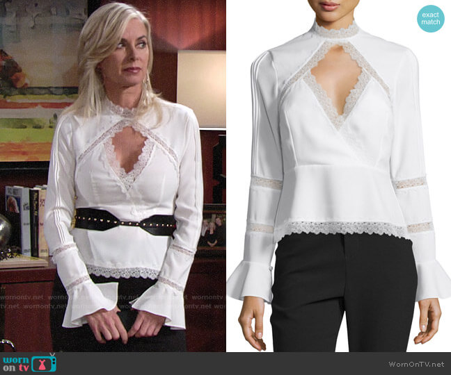 Nicholas Lace-Inset Keyhole-Front Top worn by Eileen Davidson on The Young & the Restless