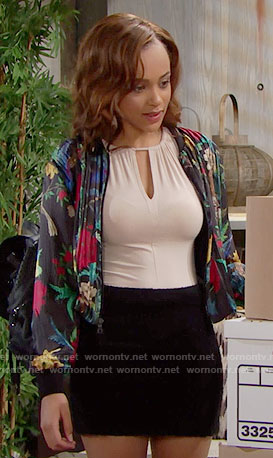 Nicole's cream keyhole top and floral bomber jacket on The Bold and the Beautiful