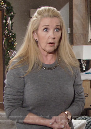 Nikki's grey beaded sweater on The Young and the Restless