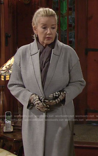 Nikki's grey coat with ribbed sleeves on The Young and the Restless