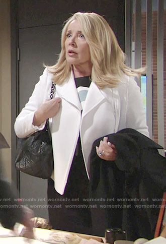 Nikki's black and blue dress and white jacket on The Young and the Restless