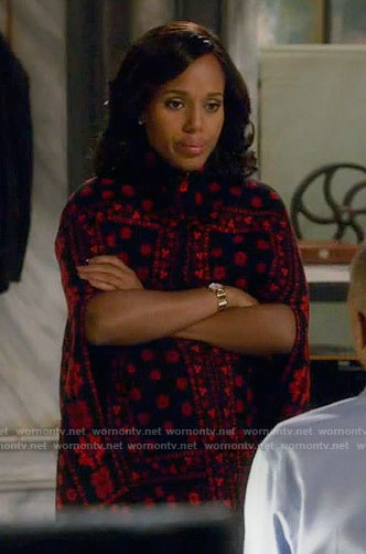 Olivia's black and red printed cape on Scandal