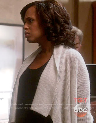 Olivia's white draped front cardigan on Scandal