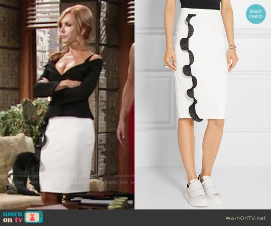 Opening Ceremony Ruffled Trim Ponte Skirt worn by Lauren Fenmore on The Young & the Restless