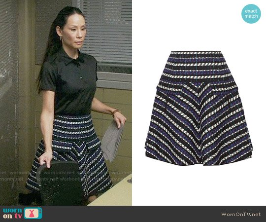 Oscar de la Renta Jacquard wool-blend skirt worn by Lucy Liu on Elementary