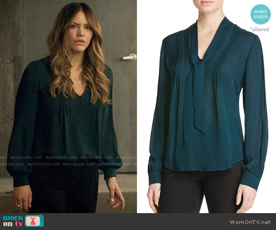 Paige Lupita Blouse in Green worn by Paige Dineen (Katharine McPhee) on Scorpion