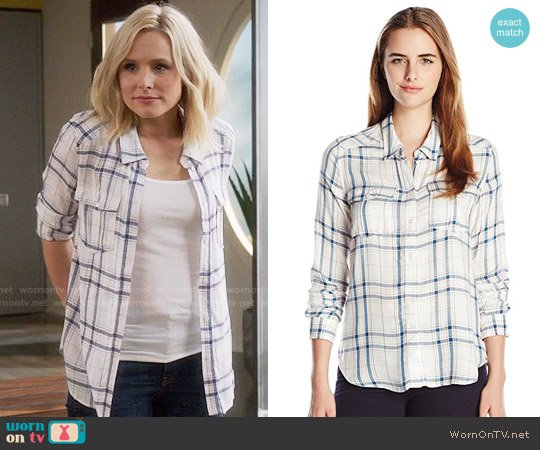 Paige Mya Shirt in White / Sapphire worn by Kristen Bell on The Good Place