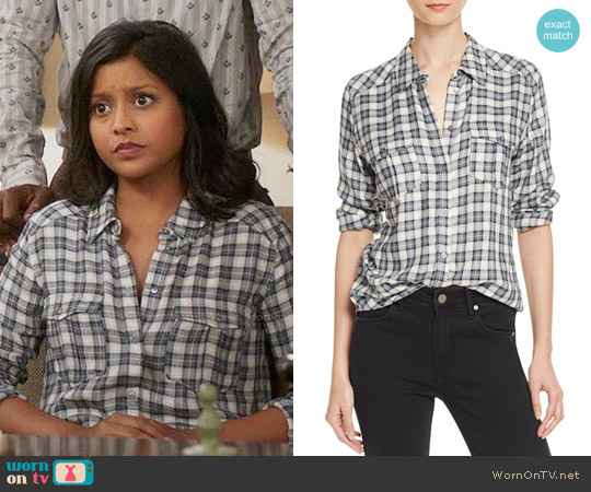 Paige Mya Shirt in Trooper Midnight Navy worn by Vicky (Tiya Sircar) on The Good Place