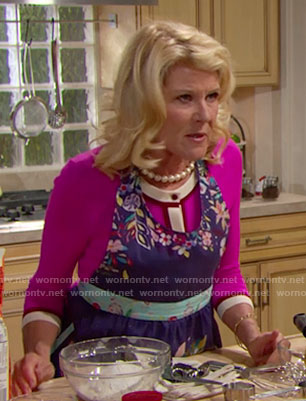Pam's pink cardigan and blue floral apron on The Bold and the Beautiful